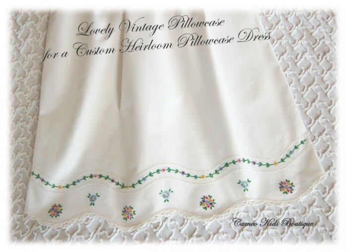Brandi - Embroidered Floral Pillowcase Dress - Little Girls Beach Dress