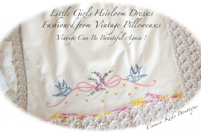 Daisi - Embroidered Vintage Pillowcase - Little Girls Dress - Custom One of a Kind