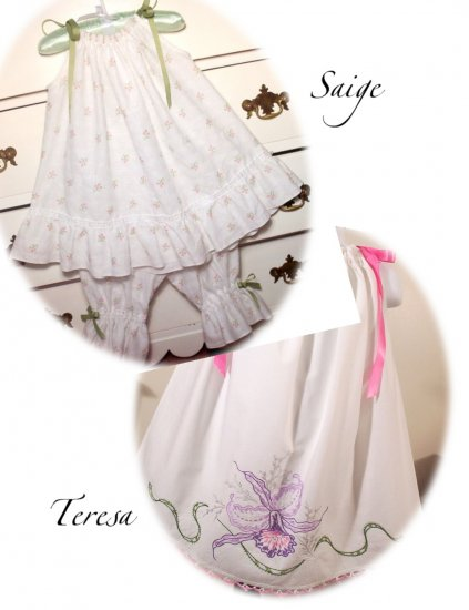 Special Request for Lillian Barnes - Pillowcase Dresses - Teresa, Sage and Christening Gown