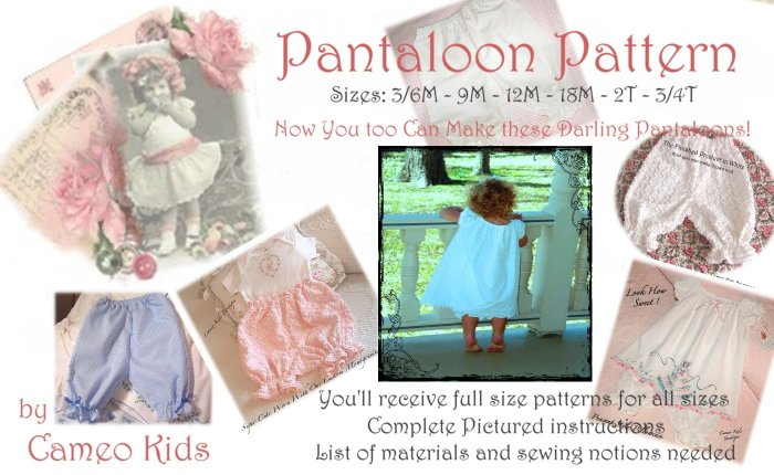 Pantaloon Pattern - Full Patterns and Instructions - Sizes 3/6M to 3/4T