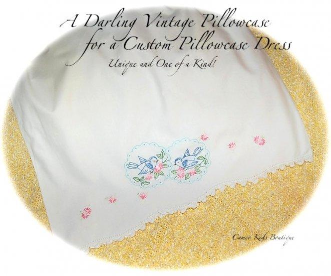Scarlett and Ashley - Pillowcase Dress - Hand Embroidered - Bluebirds - Girls