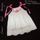 Whimsey and Vintage - Pillowcase Dress - Rick Rack Flowers - Sparkly Beads - Summer Pinafore