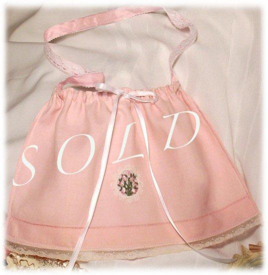 Pink Vintage Pure Linen Purse - Handbag - Little Girl - Mother - Gift