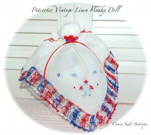 Patriotic - Vintage Hankerchief  - Doll - Hanky Doll - Church Doll - Heirloom Gifts