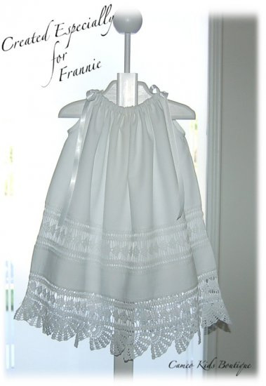 Annabella - Vintage - Crocheted Lace - Pillowcase Dress - Sun Dress - Christening Dress