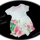 Rose - Infant - Baby - Bubble - Romper - Play Suit - Vintage Tablecloth - Recycled