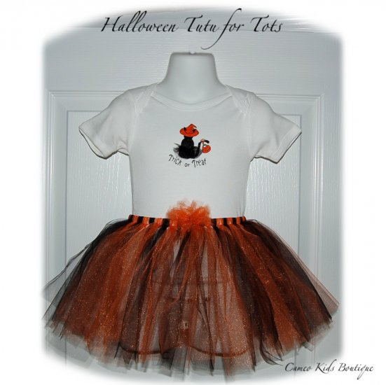 Boutique Halloween Costume Tutu - Hand Painted Onesie - Little Girls Couture