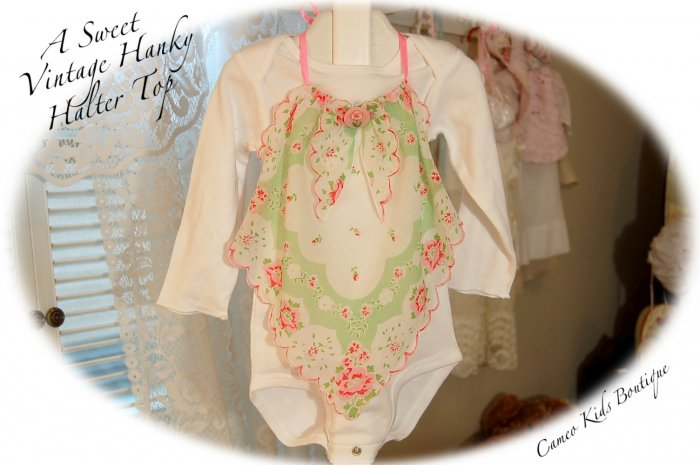Recycled - Vintage Hanky - Roses and Ribbons - Halter Top - Little Girls