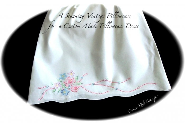 LizzieBelle - Pillowcase Dress - Cross Stitched Florals - Little Girls Dress