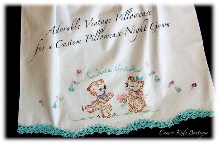 Wide Awake - Aqua - Vintage Pillowcase - Night Gown - Peasant Style - Nightgown