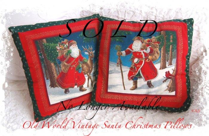 Decorative Old World Santa Christmas Pillow Set - Holiday Home Decor