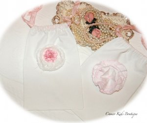 Draw String Gift Bag Frayed Pink Satin Rose Flower