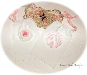 Draw String Gift Bag Frayed Pink Rose Flower