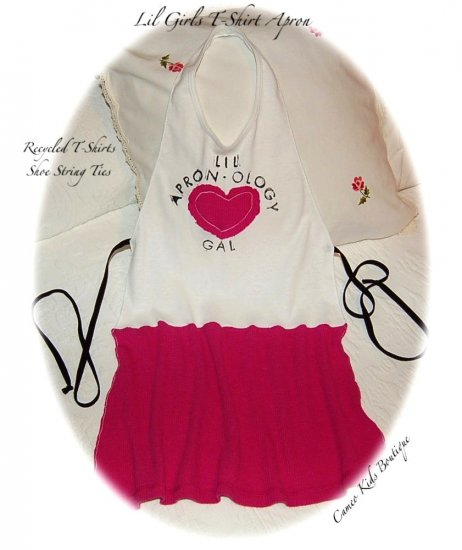Recycled T-Shirt Apron for Little Girls - Altered Couture - Lil Apronology Gal