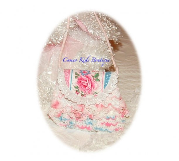 Sweet Little Girls Purse - Rose Foral - Vintage Pink Lace