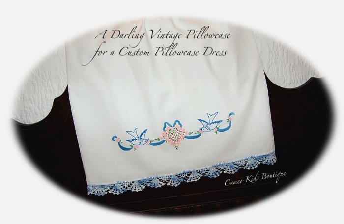 Leila - Vintage Inspired Pillowcase Dress - Bluebirds Ribbons Daisies - Easter Dresses