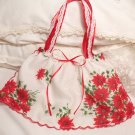 Christmas Pointsetta Vintage Hanky Purse - Handbag - Little Girl - Mother - Handkerchief Gift