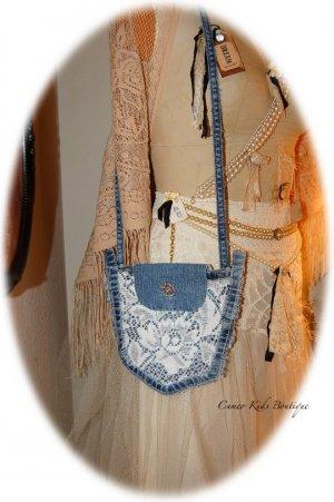 Jean Pocket Purse with Vintage Lace