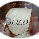 Cream - Vintage Hanky Bonnet Gift - Hankie - Handkerchief - Baby Bonnet