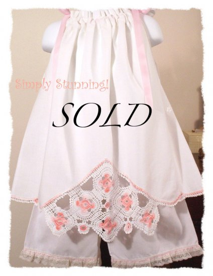 Peaches N Cream - Vintage Pillowcase Dress - Heirloom Keepsake - Toddler Dress