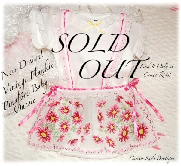 New Design - Baby Pinafore - Vintage Hanky Onesie - Altered Vintage Inspired Couture
