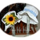 Vintage Style Floppy Sun Hat - Little Boy - Blue Gingham Band