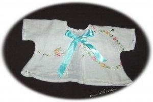 Vintage Embroidered Linen Baby Jacket 0 - 3M - Aqua Ribbon Ties