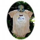 Tea Stained Ruffled Baby Onesie - Vintage Inspired - Altered Couture - Lace and Buttons