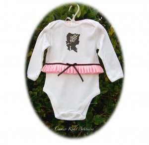 Lady Emily Altered Pink Ruffle Onesie - Vintage Inspired Altered Couture