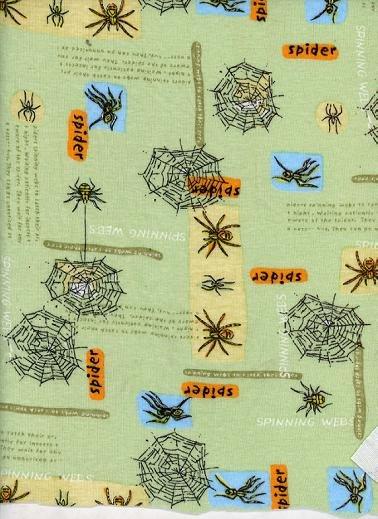 SPIDER- SPINNING WEBS on GREEN RIB KNIT- SO CUTE