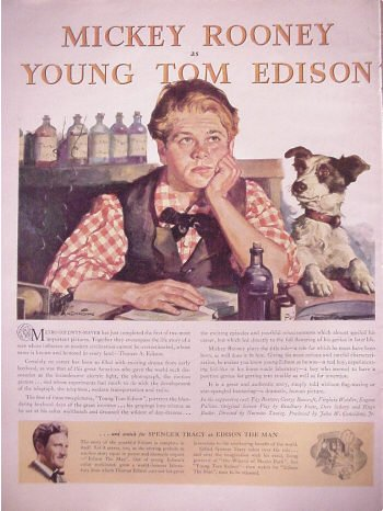 1940 Mickey Rooney As Youong Tom Edison