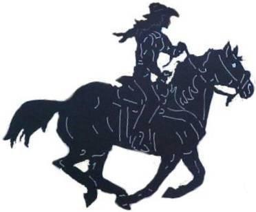 Cowgirl Running Horse Western Metal Art