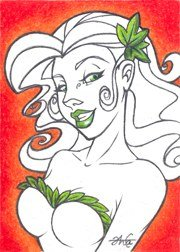Personal Sketch Card - DC POISON IVY ACEO Original Art