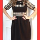 PAPAYA Amazing Brown Yoke Plaid Dress with Puff Sleeves, Bow and Vintage Buttons- Small to Medium