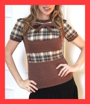 PAPAYA Yoke Plaid Top with Waistband, Vintage Buttons and Puff Sleeves - Small