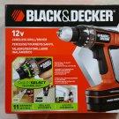 "Black & Decker Smart Select Cordless Drill/Driver BD12PSK 12V NiCd 3/8"" NEW NIB FREE SHIPPING"