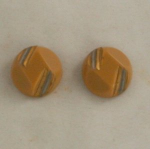 """Art Deco Glass"" Gold/Silver 2 Buttons VINTAGE BUTTON 11/16 Inch"