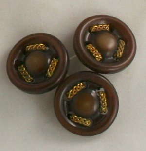 3 Brown Plastic Pierced-VINTAGE BUTTONS 1-1/16 inches