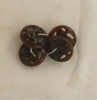 4 Buttons-Brown-VINTAGE BUTTON-Plastic Pierced Star 3/4 Inch