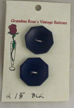 Card Buttons Grandma Rose's VINTAGE BUTTON Black 1-1/8 In