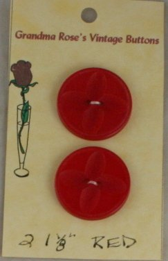 Card Buttons Grandma Rose's VINTAGE BUTTON Red 1-1/8 In