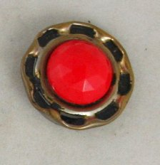 Enameled Aluminum/Red Glass-VINTAGE BUTTON-7/8 In