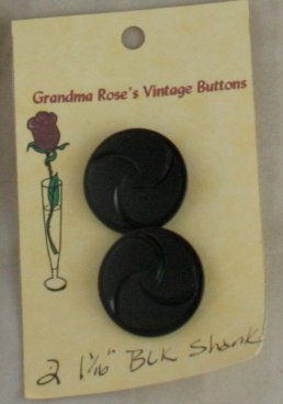 Card Buttons Grandma Rose's VINTAGE BUTTON Black Swirl 1-1/16 In