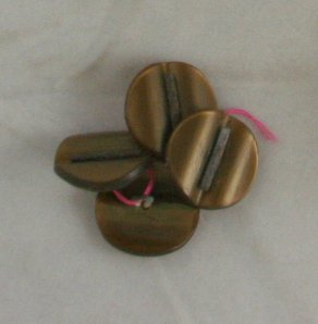 4 Tan Early Plastic Shank OME Metal VINTAGE BUTTON 3/4""