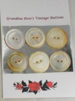 6 Rimmed Fisheye Shell VINTAGE BUTTONS-7/8 Inch