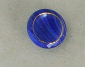 2 Gilded Cobalt Blue Glass Buttons VINTAGE BUTTON 3/4 In