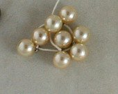 8 Pearlized Glass Ball Buttons VINTAGE BUTTON- 5/16 In