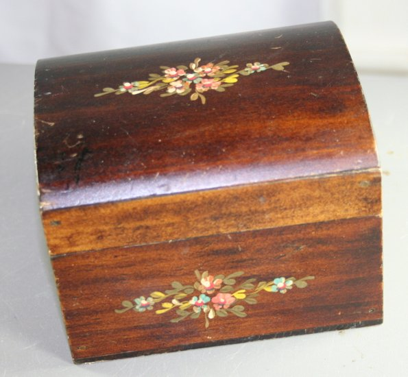 Hand Tole Painted Wood Box-Jewelry, Treasures TOLE