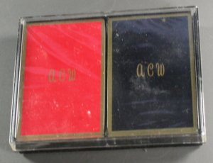 "Monogram Playing Cards  VINTAGE PLAYING CARD ""A-C-W"""
