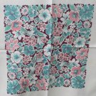 "Vintage Cotton Screen Printed Tablecloth 46"" - Floral Squares Border Print"